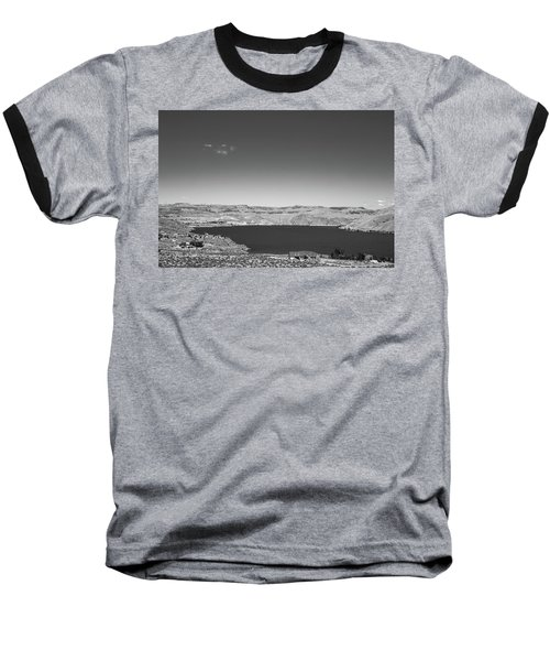 Black And White Landscape Photo Of Dry Glacia Ancian Rock Desert Baseball T-Shirt