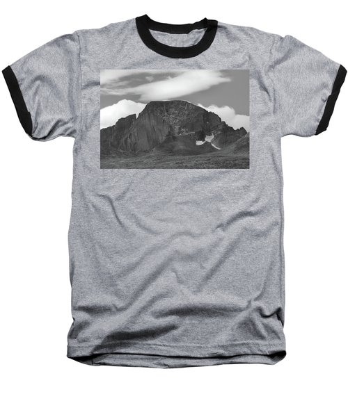 Baseball T-Shirt featuring the photograph Black And White Longs Peak Detail by Dan Sproul
