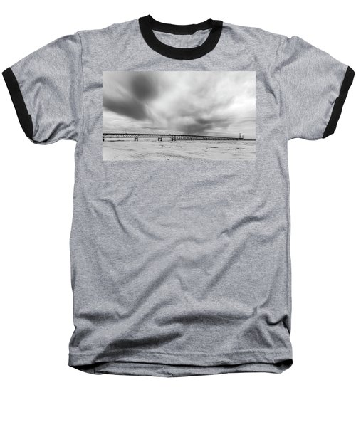 Baseball T-Shirt featuring the photograph Black And White Mackinac Bridge Winter by John McGraw