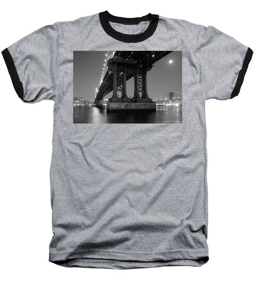 Black And White - Manhattan Bridge At Night Baseball T-Shirt