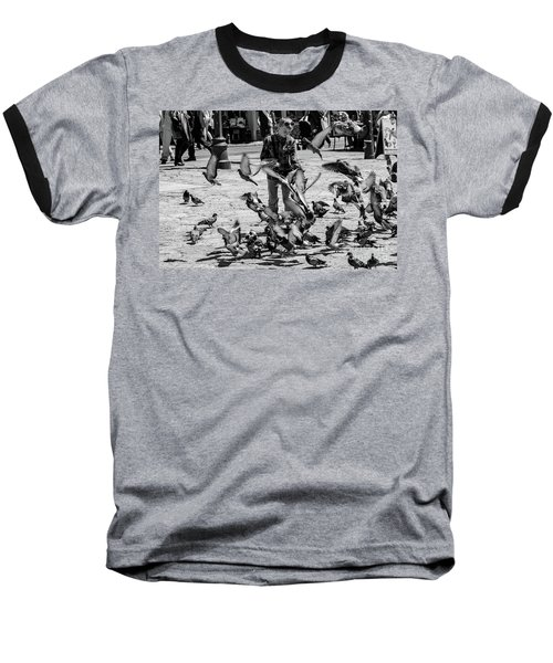 Black And White Of Boy Feeding Pigeons In Sarajevo, Bosnia And Herzegovina  Baseball T-Shirt