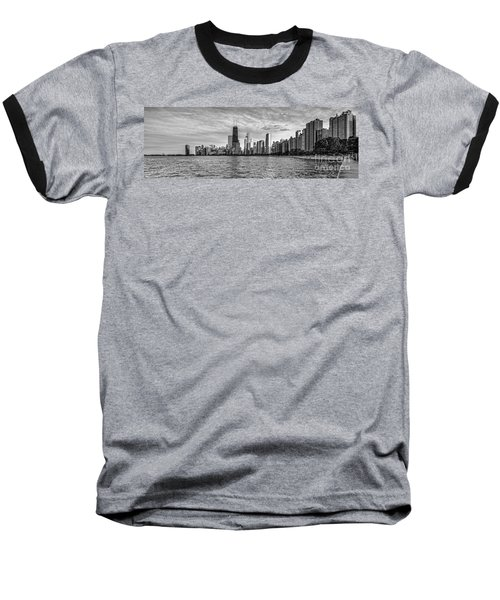 Black And White Panorama Of Chicago From North Avenue Beach Lincoln Park - Chicago Illinois Baseball T-Shirt