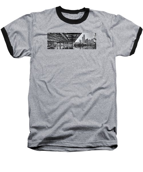 Black And White Panorama Of Downtown Austin Skyline Under The Bridge - Austin Texas  Baseball T-Shirt by Silvio Ligutti