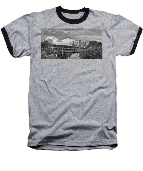 Black And White Panorama Of Downtown Houston And Buffalo Bayou From The Studemont Bridge - Texas Baseball T-Shirt