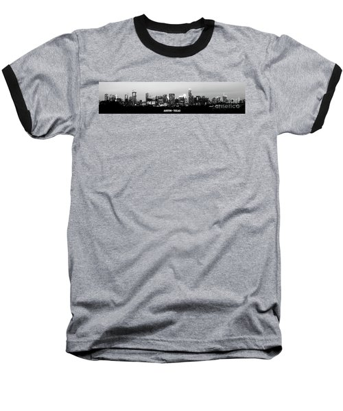 Black And White Panoramic View Of Downtown Austin Baseball T-Shirt