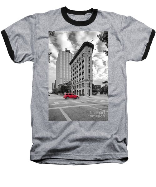 Black And White Photograph Of The Flatiron Building In Downtown Fort Worth - Texas Baseball T-Shirt