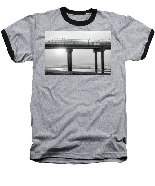 Baseball T-Shirt featuring the photograph Black And White Pier Alabama  by John McGraw