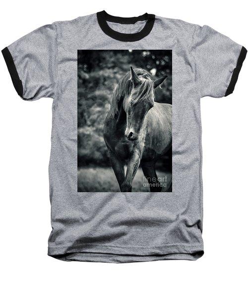 Black And White Portrait Of Horse Baseball T-Shirt