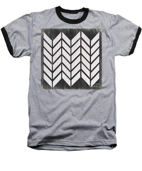 Baseball T-Shirt featuring the painting Black And White Quilt by Debbie DeWitt