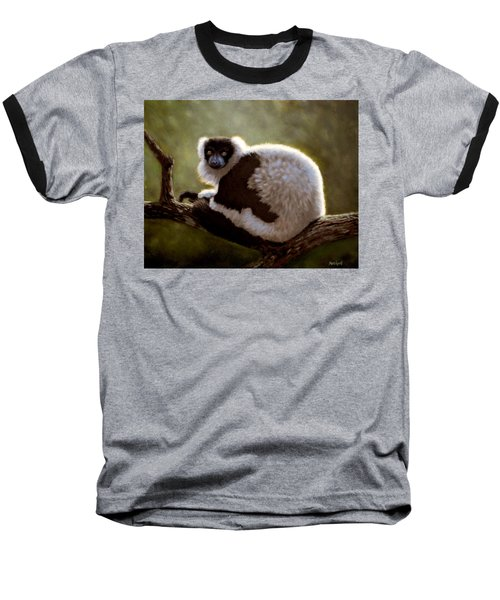 Black And White Ruffed Lemur Baseball T-Shirt
