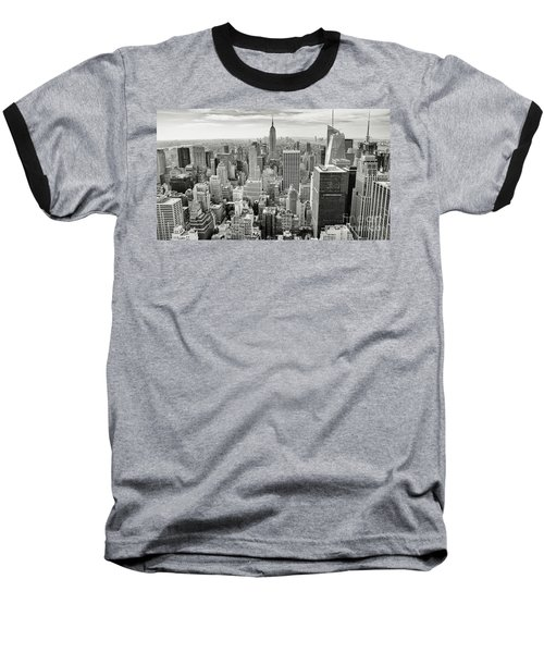 Baseball T-Shirt featuring the photograph Black And White Skyline by MGL Meiklejohn Graphics Licensing