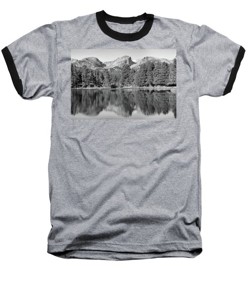 Baseball T-Shirt featuring the photograph Black And White Sprague Lake Reflection by Dan Sproul