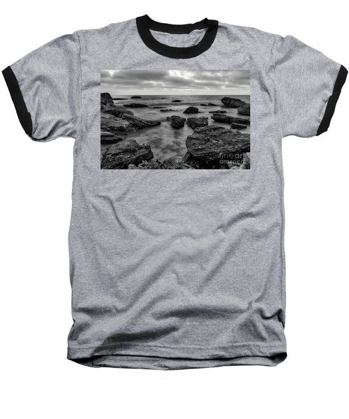 Black And White Sunset At Low Tide Baseball T-Shirt