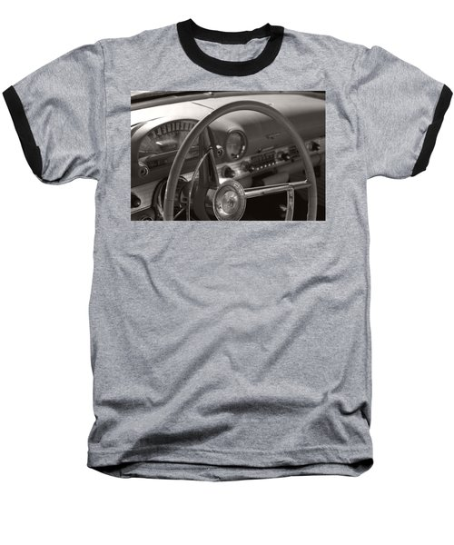 Black And White Thunderbird Steering Wheel  Baseball T-Shirt