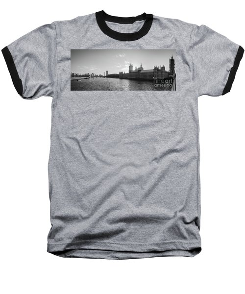 Black And White View Of Thames River And House Of Parlament From Baseball T-Shirt