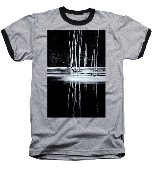 Black And White Winter Thaw Relections Baseball T-Shirt by Tom Singleton