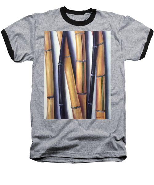 Baseball T-Shirt featuring the painting Black And Gold Bamboos by Randol Burns