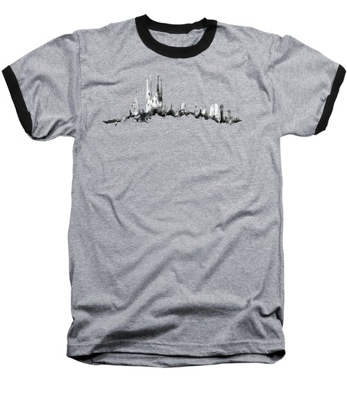 Black Barcelona Skyline Baseball T-Shirt by Aloke Creative Store