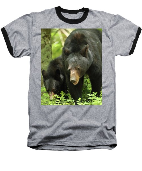 Black Bear And Cub On Ground Baseball T-Shirt
