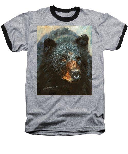 Baseball T-Shirt featuring the painting Black Bear by David Stribbling