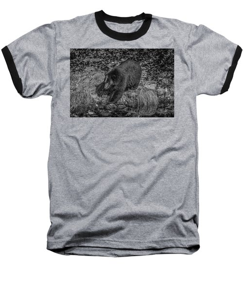 Black Bear Salmon Seeker Baseball T-Shirt