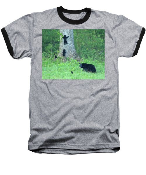 Black Bear Sow And Four Cubs Baseball T-Shirt