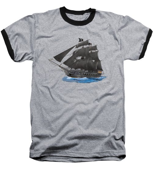 Black Beard's Pirate Ship Baseball T-Shirt by Glenn Holbrook