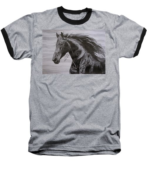 Baseball T-Shirt featuring the drawing Black Beauty by Melita Safran