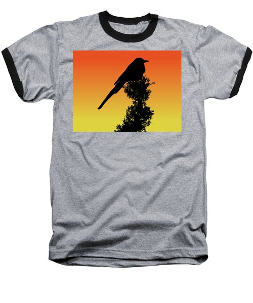 Black-billed Magpie Silhouette At Sunset Baseball T-Shirt