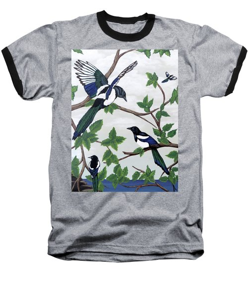 Black Billed Magpies Baseball T-Shirt by Teresa Wing