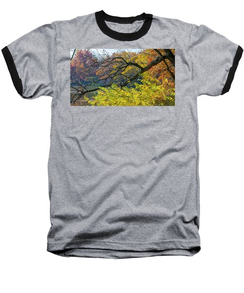 Black Branches Through Bright Autumn Trees Baseball T-Shirt