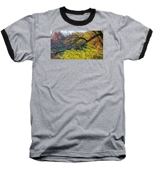 Black Branches Through Bright Autumn Trees Baseball T-Shirt