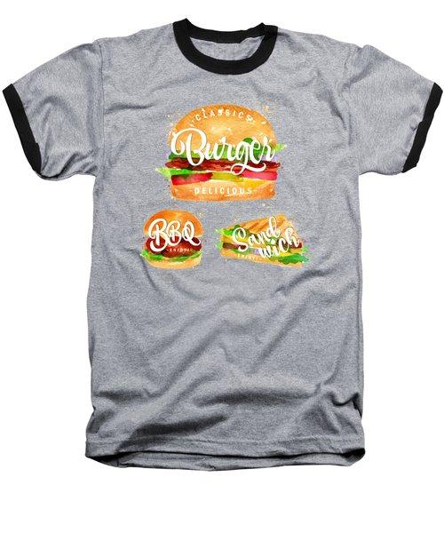 Black Burger Baseball T-Shirt by Aloke Creative Store