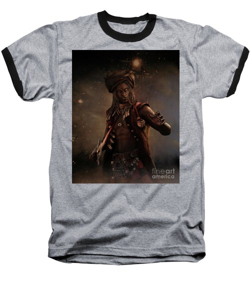 Baseball T-Shirt featuring the digital art Black Caesar Pirate by Shanina Conway