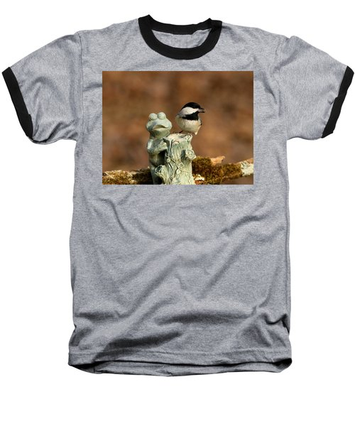 Black-capped Chickadee And Frog Baseball T-Shirt by Sheila Brown