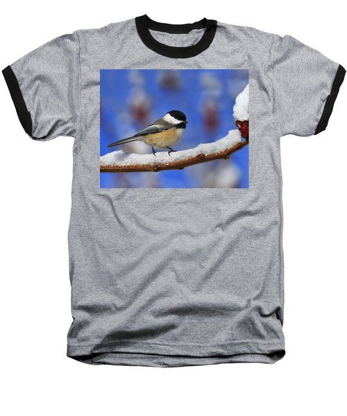 Black-capped Chickadee In Sumac Baseball T-Shirt