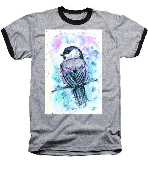 Baseball T-Shirt featuring the painting Black-capped Chickadee by Zaira Dzhaubaeva