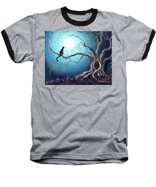 Black Cat In A Haunted Tree Baseball T-Shirt