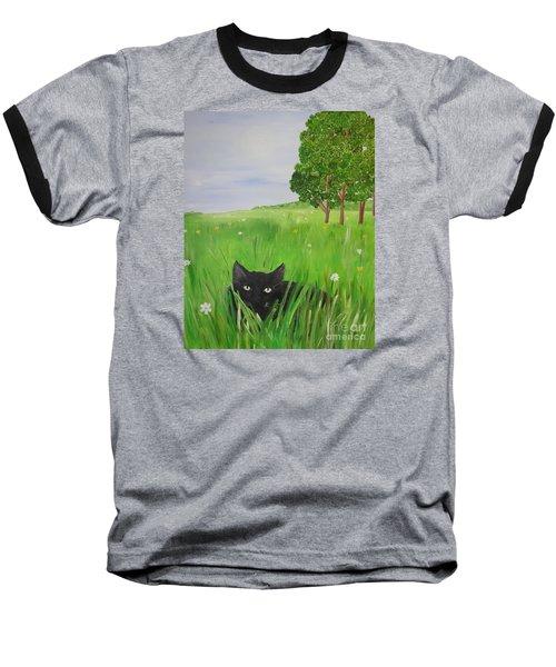 Black Cat In A Meadow Baseball T-Shirt