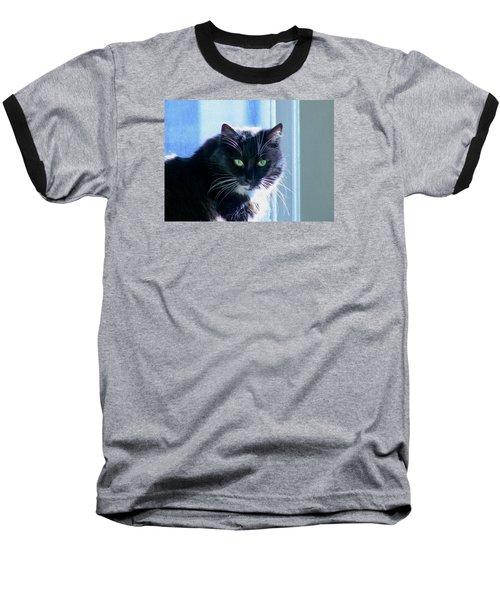 Black Cat In Sun Baseball T-Shirt
