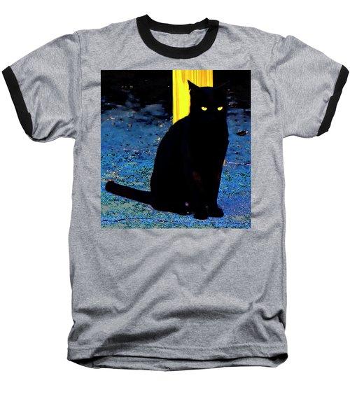 Black Cat Yellow Eyes Baseball T-Shirt by Gina O'Brien