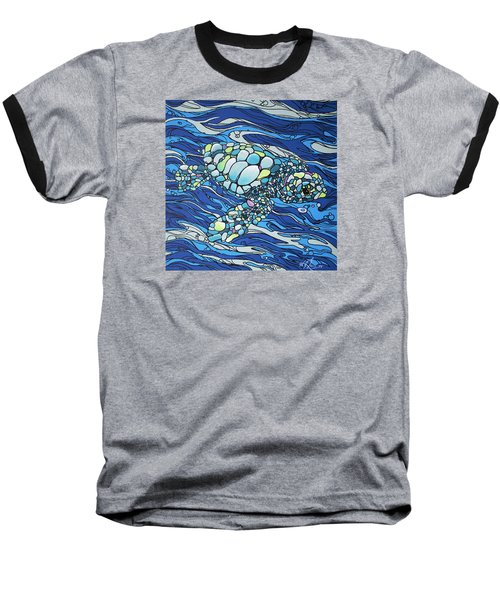 Black Contour Turtle Baseball T-Shirt by William Love
