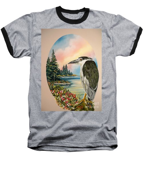 Baseball T-Shirt featuring the painting Black Crowned Heron by Sigrid Tune