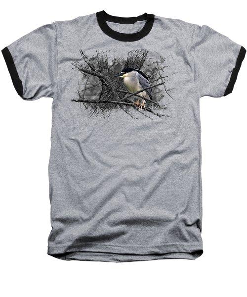 Black Crowned Night Heron 001 Baseball T-Shirt by Di Designs