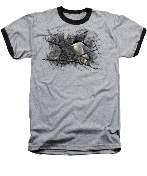 Black Crowned Night Heron 001 Baseball T-Shirt