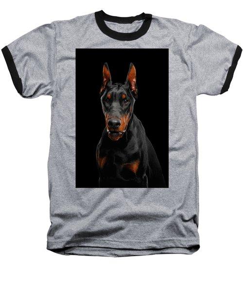 Black Doberman Baseball T-Shirt