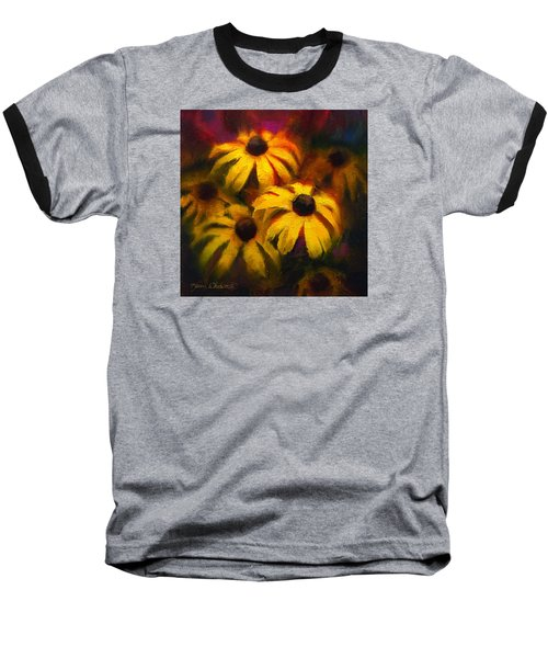Baseball T-Shirt featuring the painting Black Eyed Susans - Vibrant Flowers by Karen Whitworth