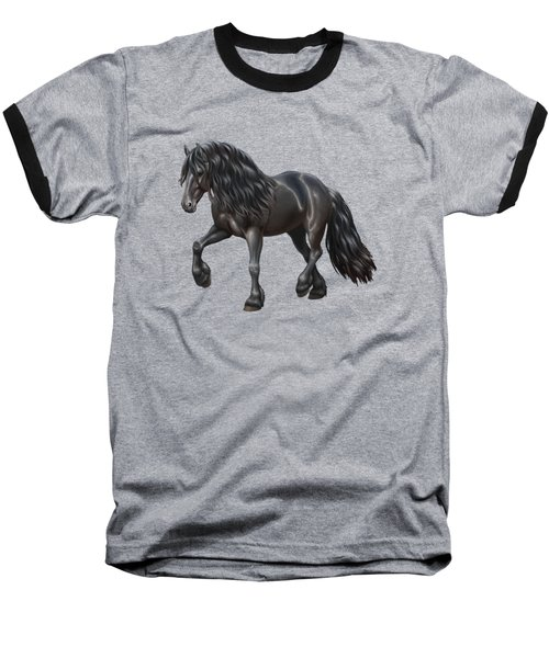 Black Friesian Horse In Snow Baseball T-Shirt by Crista Forest