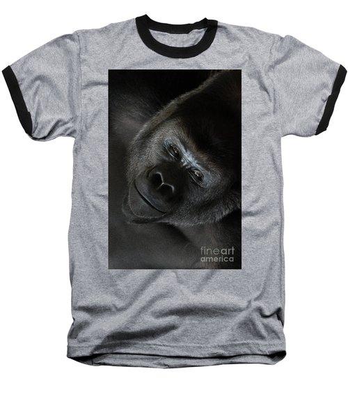 Black Gorilla Smile Baseball T-Shirt