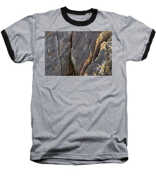 Black Granite Abstract Two Baseball T-Shirt by Peter J Sucy
